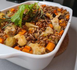 Gratin d'épeautre aux carottes et betteraves