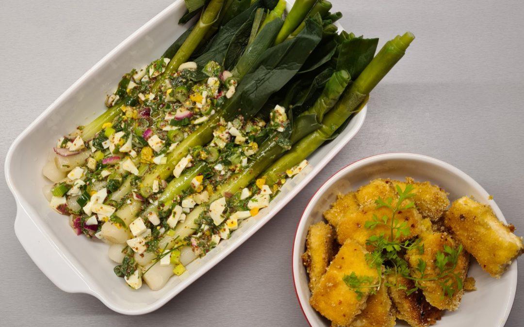 Poireaux vinaigrette et tofu pané au poivre rose